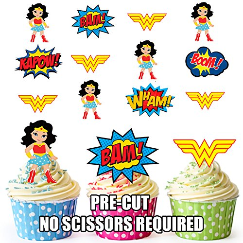 AK Giftshop Adornos comestibles precortados de Wonder Woman Superhero para magdalenas/decoraciones para tartas (paquete de 36)