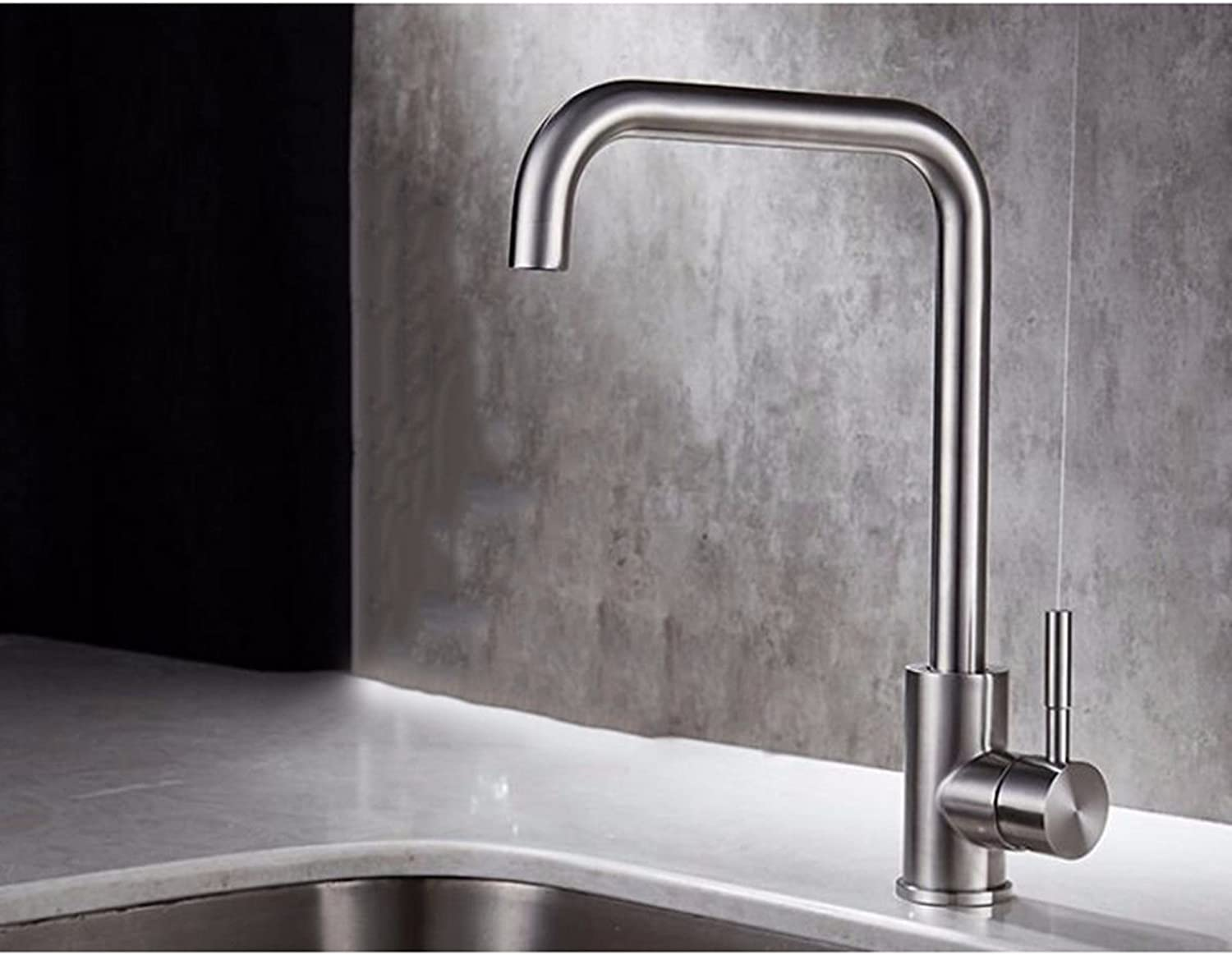 XPYFaucet Faucet Tap Taps Kitchen hot and cold greenical sink thickened sink brushed stainless steel, B