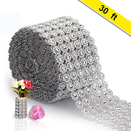 Silver Diamond Ribbon, AkoaDa Bling Diamond Wrap Silver Flower Mesh Ribbon for Event Decorations, Wedding Cake, Bridal & Party Decorations Acrylic Bling Rhinestone Roll (1 Roll, 6 Rows,30 Feet)