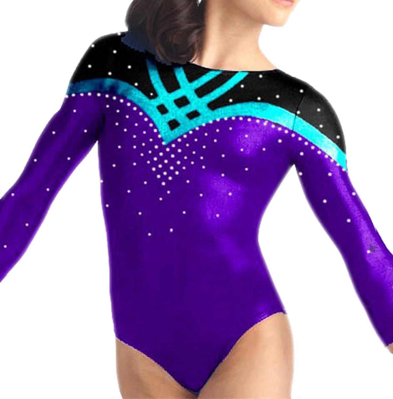 Demi Competition Gymnastics Leotard Rhinestones Long Sleeves TL033