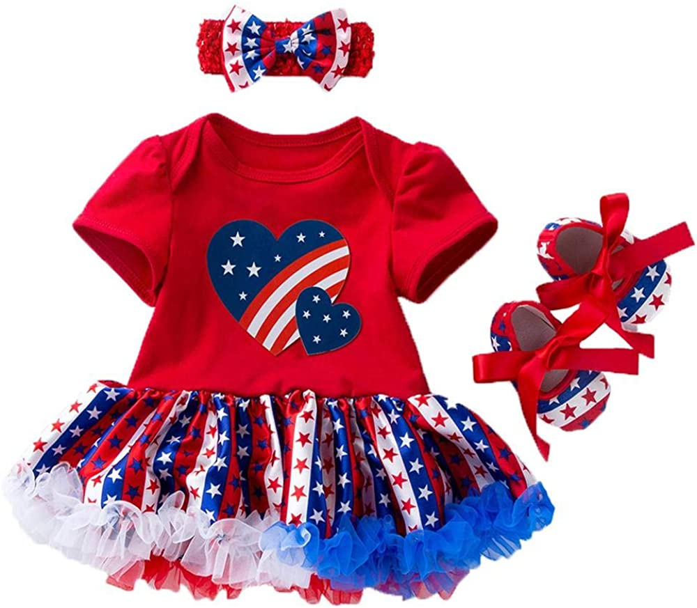 Coralup Newborn Baby Girl's Romper Dress with Headband 3pcs Outf