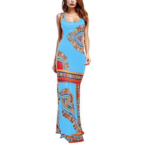 d60550febcb Amoretu Women Boho Floral Sleeveless Dashiki Maxi Long African Evening  Cocktail Dress