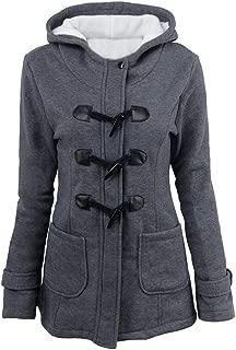 Womens Winter Fashion Coat Outdoor Fur Warm Wool Blended Classic Pea Coat Jacket