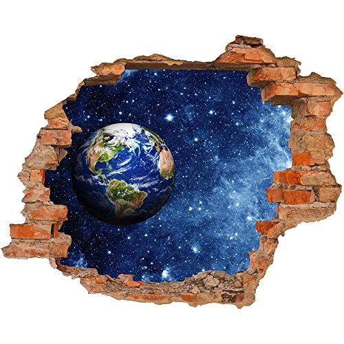 Fototapete 3D Bild Tapete Loch in der Wand Platz Kosmos Erde Globus Sterne