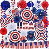 Bulk Patriotic Red White Blue Party Decoration Assortment American USA Flag Banner Star Garland Hanging Paper Fans Hanging Swirl Tissue Paper Pom Poms for 4th of July Independence Day Memorial Day