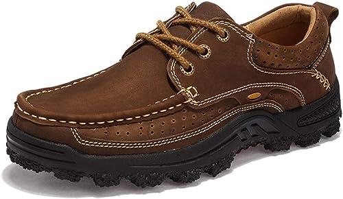 Chaussures de sport antidérapantes pour hommes Sports de plein air Chaussures d'escalade à lacets en cuir synthétique creux chaussures de randonnée imperméables pour les hommes (doubleure polaire en op