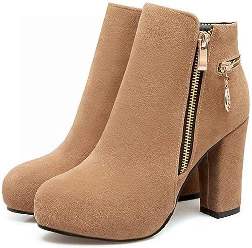 ZHRUI Stiefel para damen - Stiefel Cortas de Invierno de tacón Alto Botines en Punta de Inglaterra Cuero Mate   36-43 (Farbe   Albaricoque, tamaño   43)