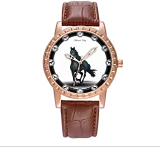 Luxury Watch Brand Popular, Brown Fashion Classy Watch Brand Popular, for Your own or Relatives Friends Lover Men's Watch Personality Pattern Watch My Horse Painting, with 12 Vintage Horses Around