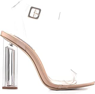 Maria-2 Clear Chunky Block High Heels for Women, Transparent Strappy Open Toe Shoes Heels for Women