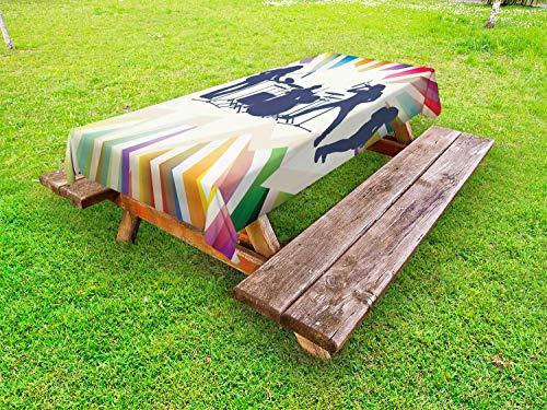 ABAKUHAUS Muziek Tafelkleed voor Buitengebruik, Rock Band 80s Hairstyle Music, Decoratief Wasbaar Tafelkleed voor Picknicktafel, 58 x 120 cm, Veelkleurig