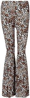 Qootent Women Flared Pants Leopard Print Wide Leg Pant Leggings Elastic Trouser