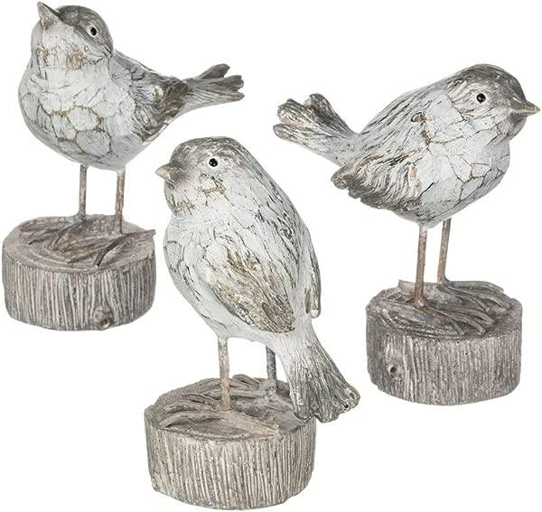 Whitewashed Birds On Log Pedestal 5 Inch Decorative Tabletop Figurines Set Of 3