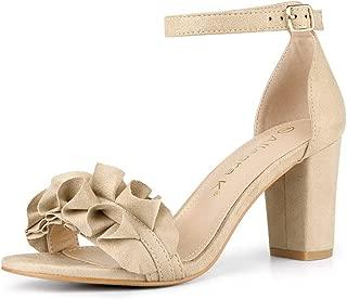 Women's Ruffle Ankle Strap Chunky Heel Sandals