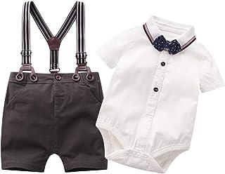 بدلة أطفال للأولاد الصغار، قميص بأكمام قصيرة للرضع + سروال مريلة+ ربطة عنق وبدلة ملابس