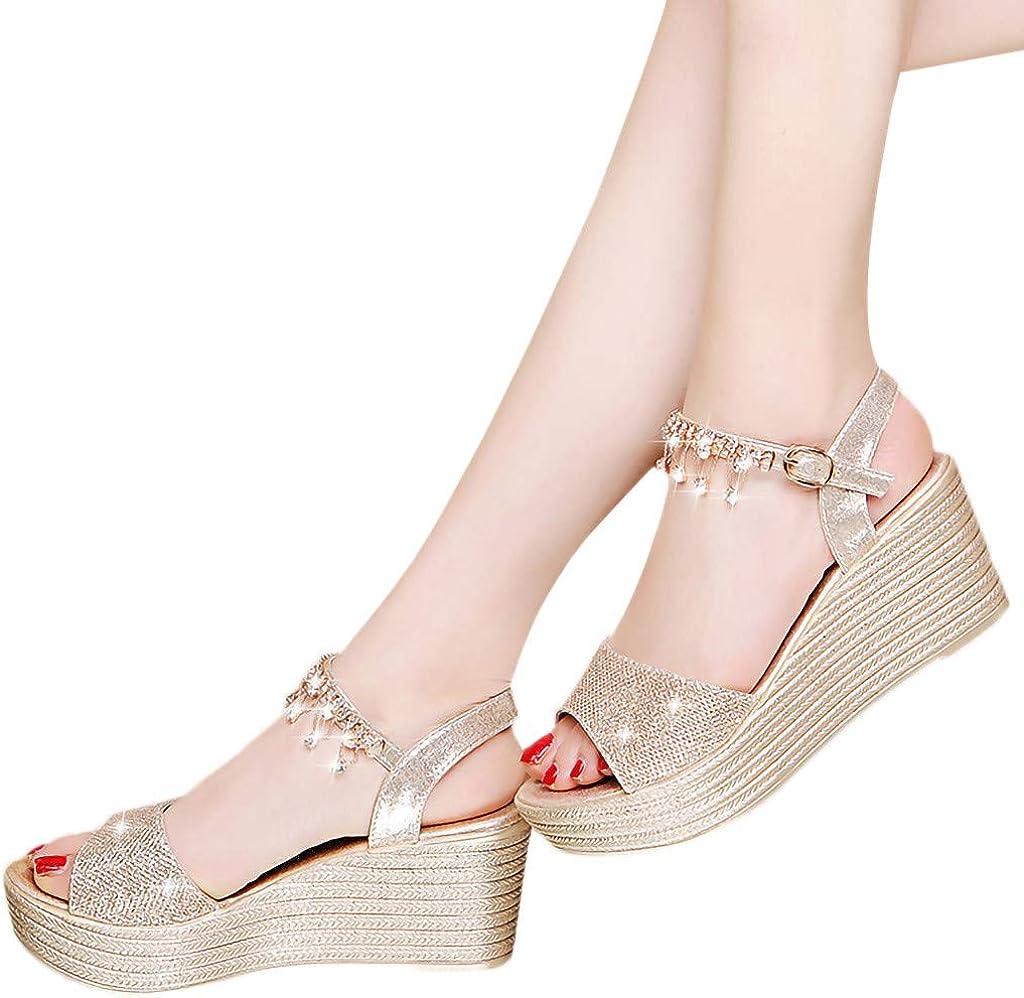 Women Sandals Wedges Shoes Pearl Thick Bottom Belt Buckle Roman Sequin Sandals 2019 Summer Beach Sandals Slippers