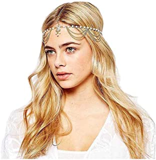 Yalice Pearl Tassel Head Chain Gold Teardrop Headband Hair Acessories for Women and Girls