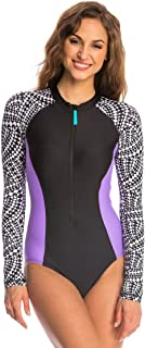 Women's Printed Long Sleeve One Piece Swimsuit (Small, Black Purple)