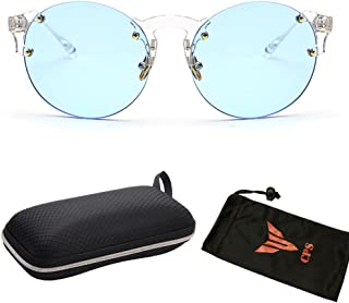 Fashion Oversized Round Rimless Sunglasses Women with Free Hard Case and Pouch