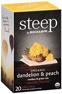 Bigelow 17715 Steep Tea, Dandelion & Peach, 1.18 Oz Tea Bag, 20/Box