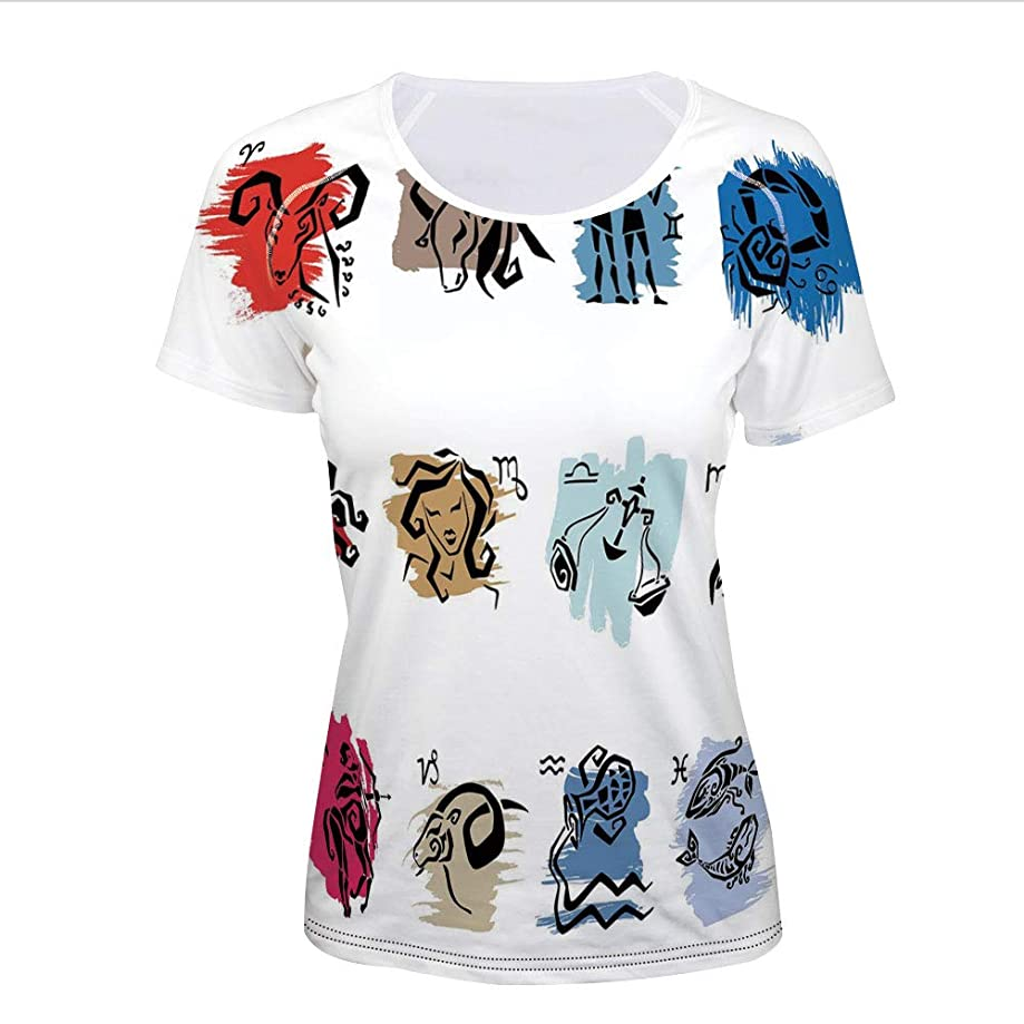 T-Shirt Pictures Print,The Signs with Brushstrokes Effect Birth Calendar,Women
