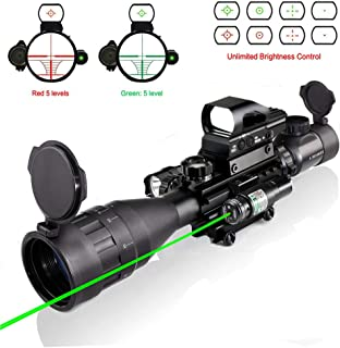 XopingABC 4-16x50AO Rifle Scope Combo Dual Illuminated with Green Laser Sight 4 Holographic Reticle Red/Green Dot for Weaver/Rail Mount