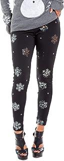 Tipsy Elves Women's Cute Sequined Snowflake Leggings for Christmas