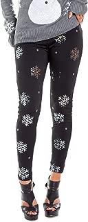 Women's Cute Sequined Snowflake Leggings for Christmas
