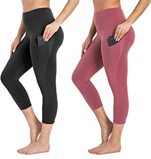 HIGHDAYS High Waist Capri Leggings with Pocket - Women Yoga Pants for Workout Running Cycling Athletic Hiking 2 Packs