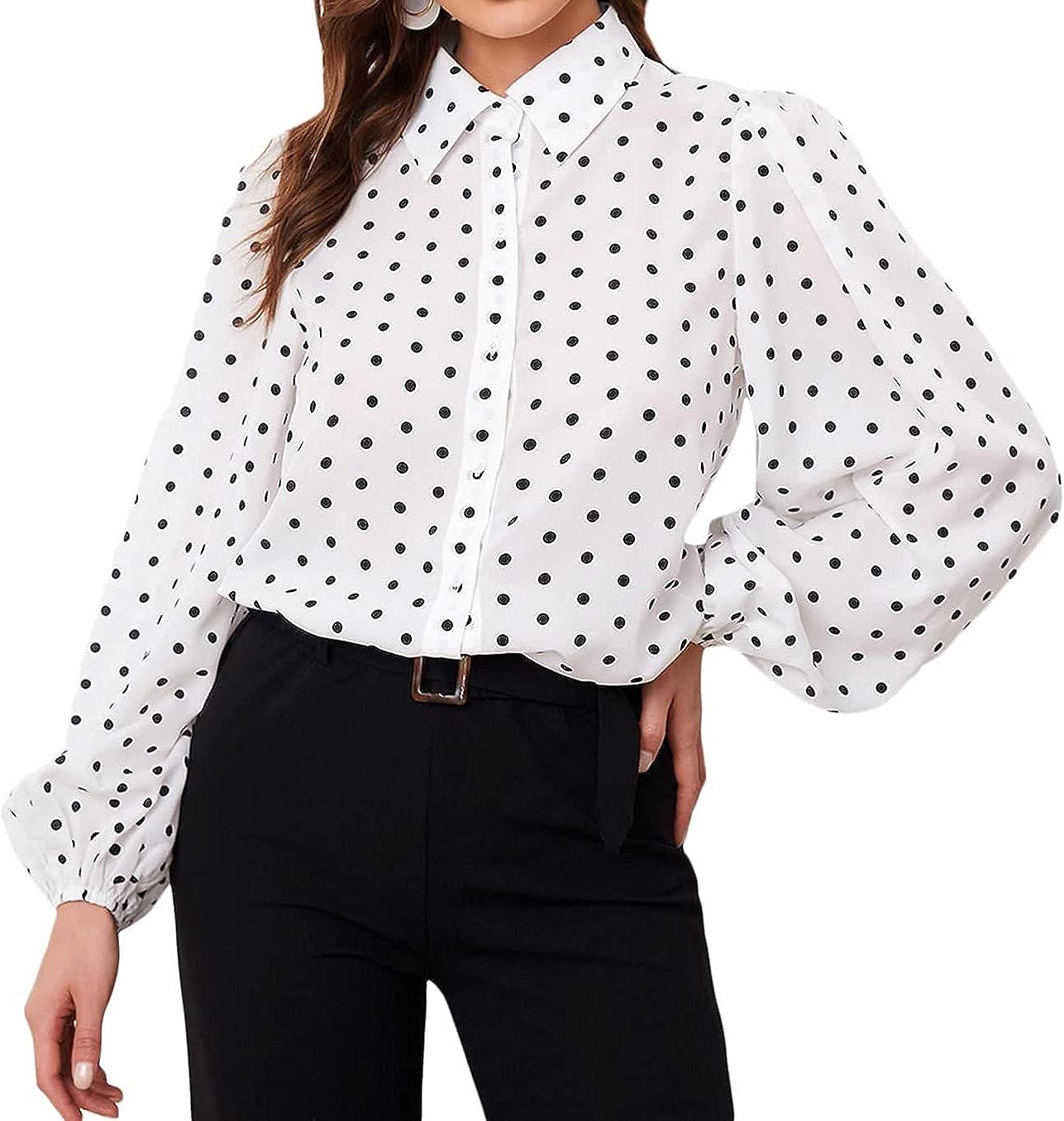 Verdusa Women's Blouse Top Polka Dots Print Bishop Sleeve Button Up Shirt