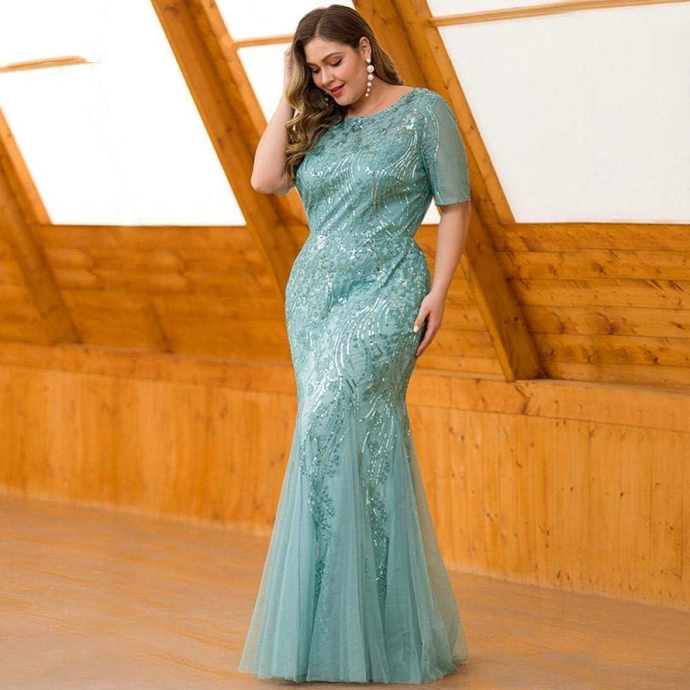 Robe de Soiree Robes de Bal de Grande Taille pour Femme, à Manches Courtes et à col Rond, élégantes Robes de soirée habillées Blue