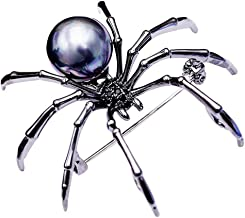 SKZKK Fashion Black Spider Brooches Jewelry Women's Accessories for Women Pearls for Crafts Crystal Zircon Collar Pins Unisex Brooch Sweater Clip Insect Pins