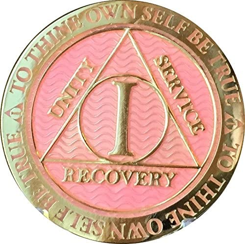RecoveryChip 1 Year AA Medallion Complete Free Shipping Fees free Gold Pink Alcohol Reflex Plated