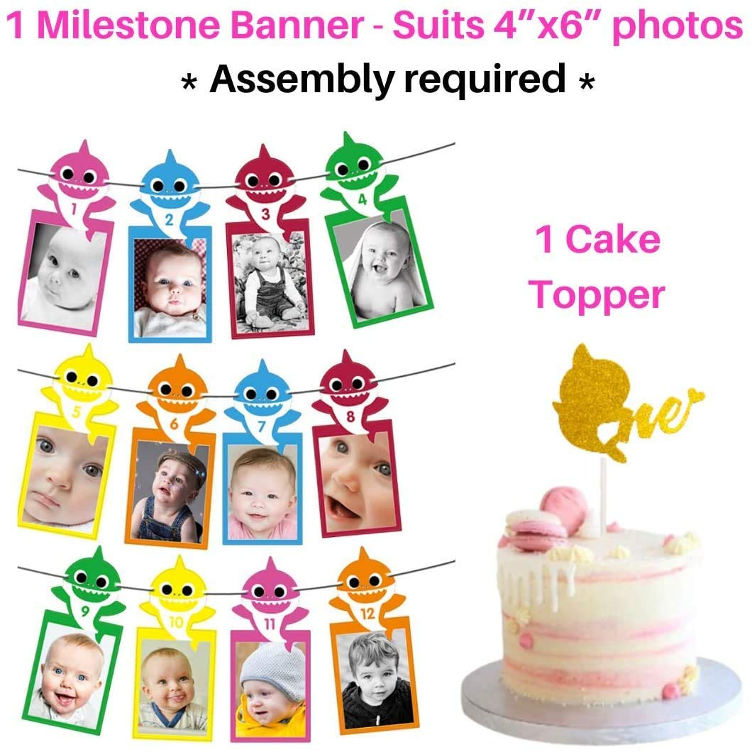 1st Birthday Girl Party Supplies Pink Baby shark Balloons One Birthday Crown Cake Topper Theme Baby Shark Under The Sea Ocean Themed Party Decoration Set High Chair Banner 3x5 ft Backdrop