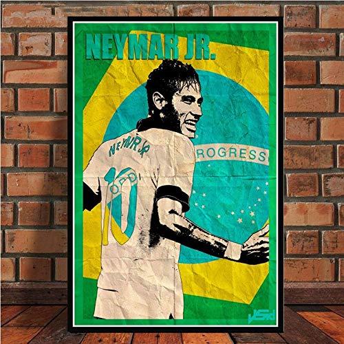 UIOLK Cuadro en Lienzo HD Robben Cruyff Beckenbauer Ronaldinho Cartel Retro Estrella de fútbol Cartel y Grabado Aniversario Regalo de cumpleaños