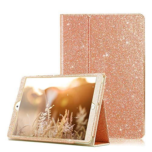 FSCOVER iPad Case 10.2 Inch 2020 8th Generation, Glitter PU Leather Magentic Flip Stand Case with Auto Wake/Sleep Pencil Holder Smart Cover for iPad 7th Generation 10.2 2019, Rose Gold