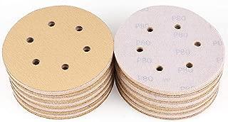 6-Inch 6-Hole 80 Grit Sanding Disc - Hook and Loop Random Orbital Sander Sandpaper by LotFancy, Pack of 100