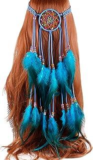 Tukistore Boho Borlas De Pluma Venda para Mujer Pluma Cintas para el Pelo Estilo Hippie Decoración del Pelo Tocado para la Fiesta del Festival De La Mascarada