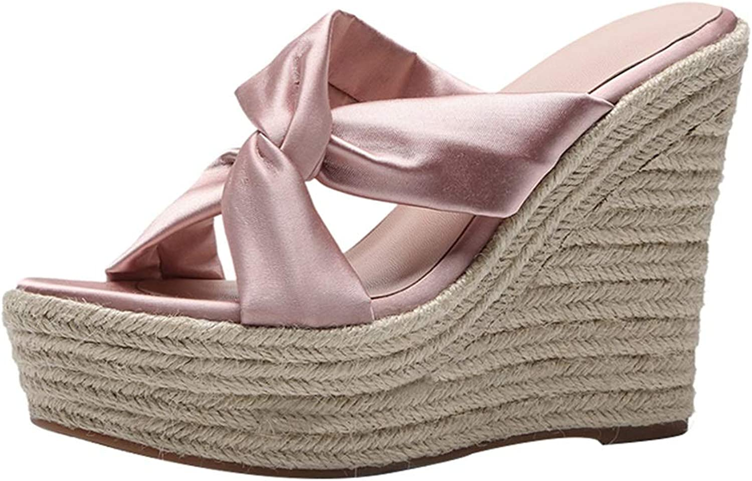 Wedge Sandals Ladies High-Heeled Slippers Satin Heels Ladies Platform shoes Fashion Sexy High Heels High 12cm (color   Pink, Size   36 US6)