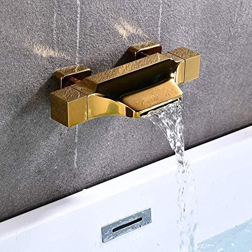 NOTREPP Bañera Faucet Bañera Faucet Cascada Bañera De Caño Hot Y Frío Agua Agua Ducha Grifo Baño Ducha Mezclador,Gold