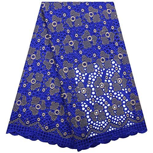 N\A Textilien Afrikanische Spitze-Gewebe-Schwarz Schweizer Baumwollspitze Stoff Löcher Nigerian Schweizer Voile-Spitze in der Schweiz Stoned for das Nähen (Color : Blue, Size : 5 Yards)