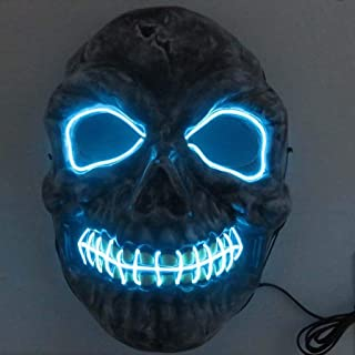 Skeleton Mask/LED Light Up Mask Festival Halloween Costume/Cosplay Costume Props Toy happyL (Color : Ice Blue)