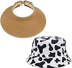 2 PCS Women's UPF 50+ Wide Brim Roll-up Straw Sun Hat Sun Visor Cow Pattern Bucket Hat for Women Men Brown