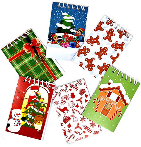 48 Mini Christmas Notepads Holiday Memo Spiral Notebooks Goody Bag Stocking 6 Designs Gingerbread House Santa Snowman Elf Tree Candy Cane Reindeer Gift Bow for Kids Teens School Party Favors