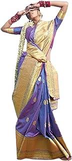 Woman Traditional Sari Plain Body Paad Banarasi Silk Party South Indian Bride Saree Blouse 6309