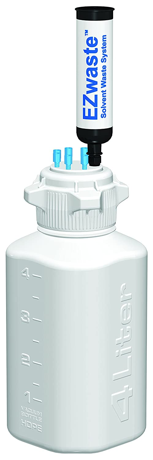 EZwaste HPLC Fashionable Solvent Waste System Duty Reusable 4L Bottle Heavy Very popular!