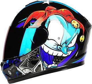 YOJDTD Casco de moto Casco completo Casco de verano Casco de locomotora Casco, cara de flor con película de color_L
