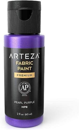 Arteza Permanent Fabric Paint MP8 Pearl Purple, 60 ml Bottle, Washer & Dryer Safe, Textile Paint for Clothes, T-Shirt...