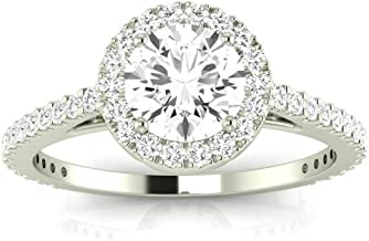 1 Carat t.w. Round Classic Halo Style Pave Set Round Shape Diamond Engagement Ring H-I I2 Clarity Center Stones.