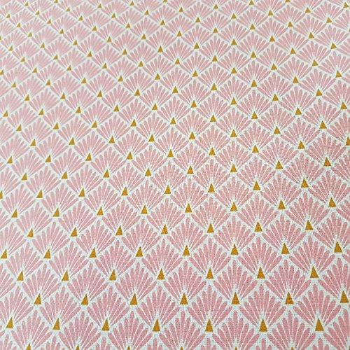 Werthers Stoffe Stoff Meterware Baumwolle rosa Raute Fächer beschichtet Japan Tischdecke abwaschbar