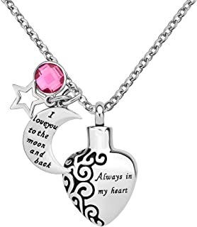 Cool Jewelry Always in My Heart Pendant I Love You to The Moon and Back Urn Necklace for Ashes Cremation Memorial Jewelry